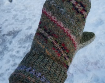 Mittens made from wool sweaters. Nordic mittens.  Recycled sweater mittens. Wool sweater mittens. Women's gifts. Women's mittens
