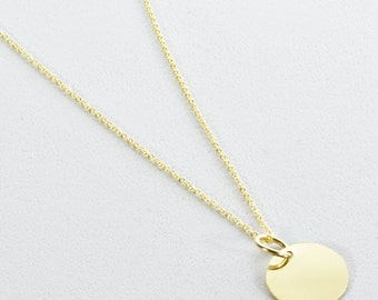 Small 14k Yellow Gold Disc Necklace