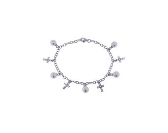 Sterling Silver Pearl and Cross Charm Bracelet