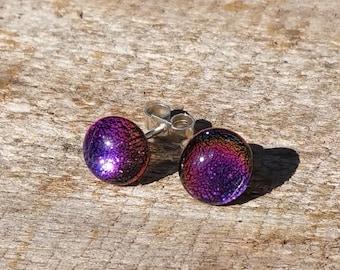 Earings fused dichroic glass