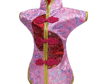 Unique Festive Pink Silk Brocade Qipao Dress Wine Bottle Cover