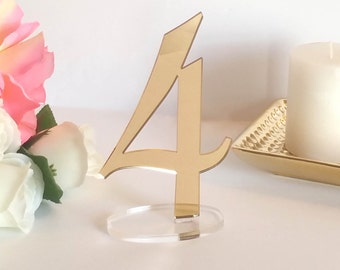 Mirror Acrylic Table Numbers, Event Decor; Wedding Decor;  Standing Numbers Gold, Silver, Acrylic Chic Wedding Decor  [ATN10]