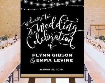 Wedding celebration welcome sign, string lights party signs, black and white printable, ceremony sign, reception sign, customized, DIGITAL