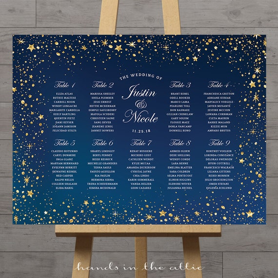 Wedding Star Chart: Stars Wedding Seating Chart, Celestial Night, Silver Gold