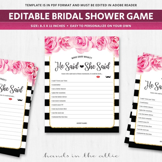 He Said She Game Questions Bridal Hens Party Editable Template Funny Wedding Shoe In Spanish Download DIGITAL