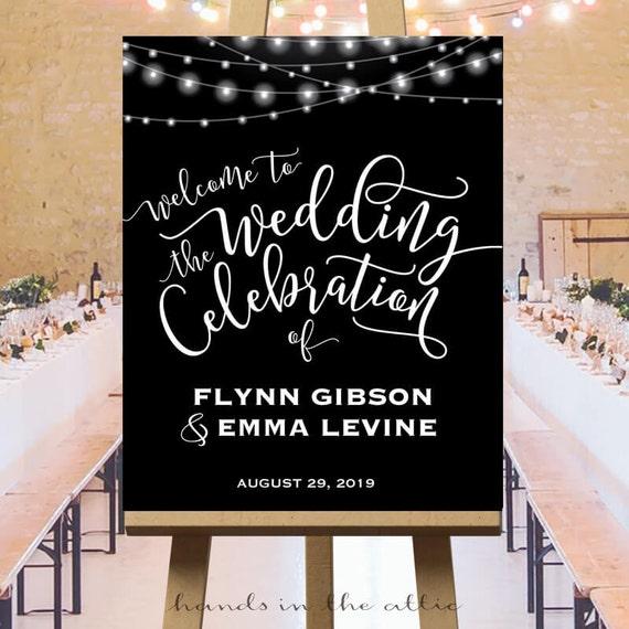 Wedding Celebration Welcome Sign String Lights Party Signs Black