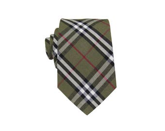"Olive Green Madras Plaid Ties. Mens Green Check Neckties. 100% Cotton Olive Green Tie.Wedding.Groomsmen Gifts 3"" Width"