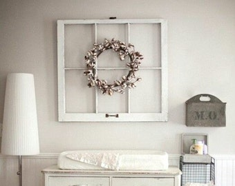 6 pane antique white frame wood window picture frame 6 pane vintage each side distressed differentlarge frame 32x28 - Distressed Window Frame