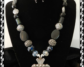 """Wyoming Bucking Horse Concho Pendant, """"Wicked in Black"""" Necklace"""