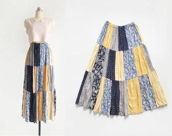 SALE! vintage patchwork maxi skirt / long rayon crinkle skirt / 90s prairie skirt / womens M - L