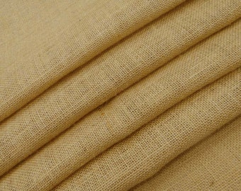"Beige Burlap, Natural Fabric, Sewing Crafts, Beige Jute Fabric, Home Decor, Burlap Fabric, 55"" Inch Wide Jute Fabric By The Yard ZJC8A"