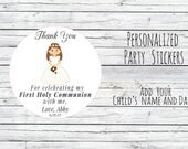 Personalized First Communion  Party Favor Tags , Bag Tags,  Favor Tags or Labels, Communion Thank You Stickers You Choose Size