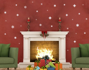 42 Pc | Snowflake Wall Decals   Christmas Decals   Christmas Wall Decal    Holiday Decals
