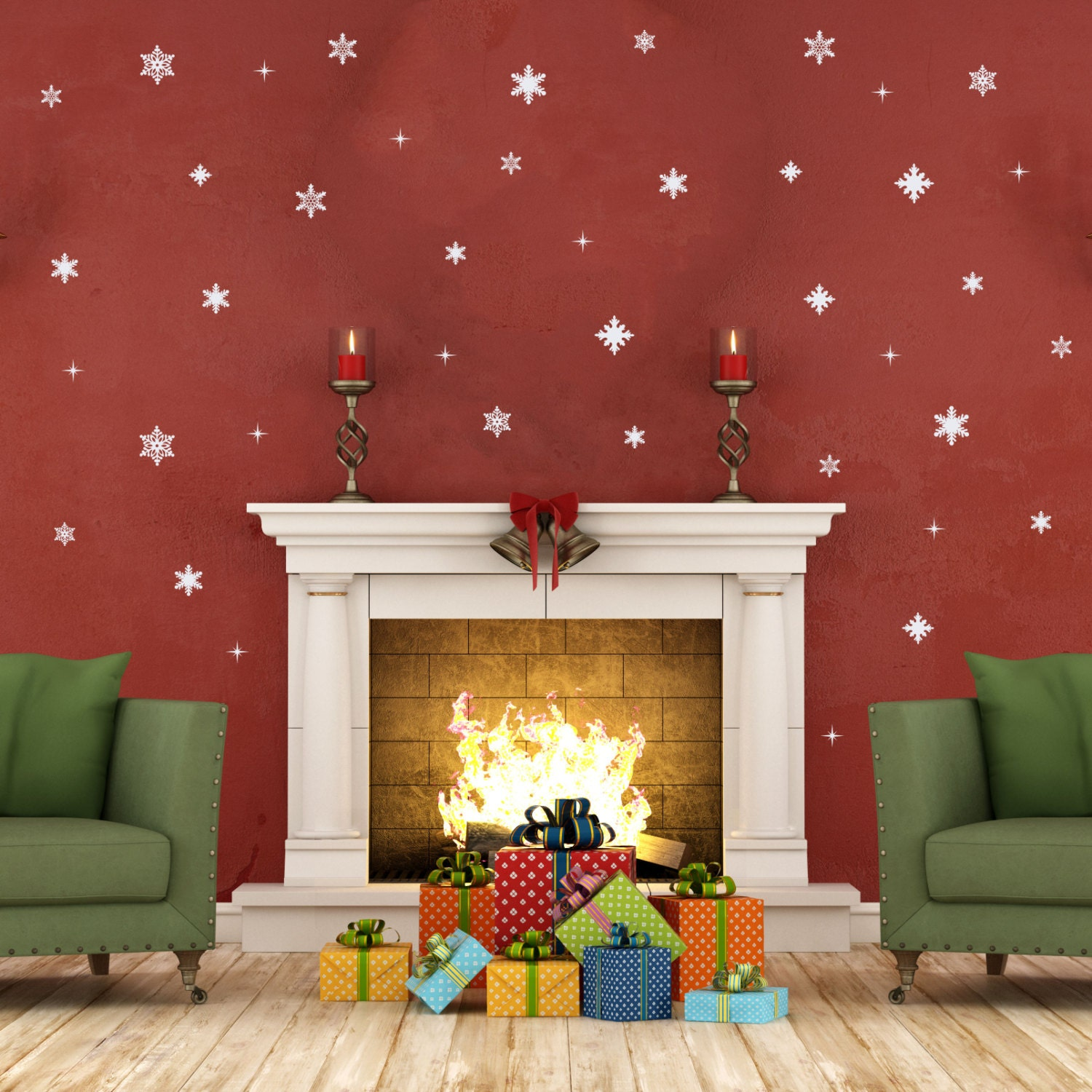 42 pc Snowflake Wall Decals Christmas Decals Christmas
