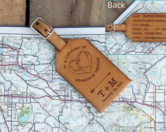 Genuine Leather Luggage Tag, Personalized Luggage Tag, Engraved Luggage Tag, Custom Luggage Tag, Mr and Mrs Luggage --LTG-WHT-Tm
