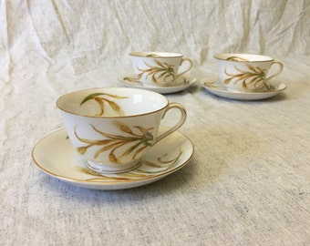 Vintage Puritan China Wheat Pattern Cups and Saucers, Set of 3