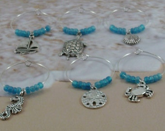 Beach themed wine charms, Hostess gift beach house,Beach themed wine glass markers