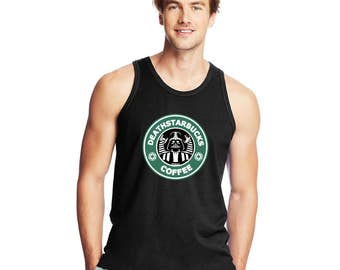 Death Star DeathStarbucks Coffee Star Wars Starbucks inspired men's mens tank top 42mt