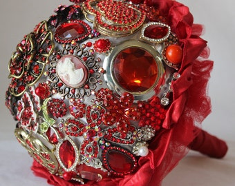 Ruby Red Wedding Brooch Bouquet made with jewels 9 inch diameter