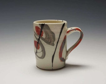 "Handmade ceramic mug by Potteryi.  Coffee mug with Korean word 기쁨, meaning ""joy""."