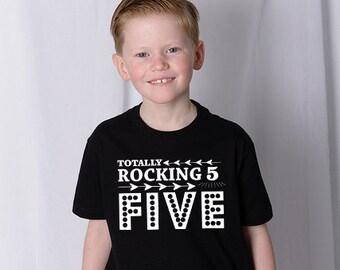 Boys 5 Birthday - Rocking Five - 5th Birthday Top - 5th Birthday Shirt - Five Year Old - Five Birthday Gift - 5th Birthday Outfit
