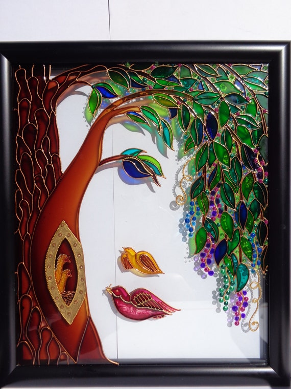 family tree art glass painting wall decor tree of life