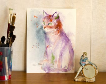 "Cat portrait original painting -  original watercolor  of a grey purple and orange cat - pet art - cat art - 9"" x 12"""