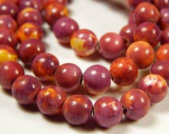 10mm Ocean White Jade Round Bead - Pale Violet Red - 15.5 Inch Strand - Gemstone Beads - Jewelry Supplies