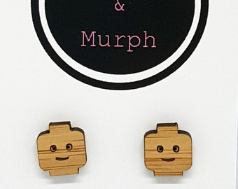 Laser Cut Wood Lego Head Bamboo Earrings Studs