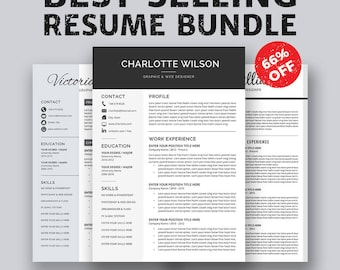 Professional Resume Template, CV Template, Cover Letter, MS Word, For Mac & PC, Simple Modern Creative Resume, Instant Download, Charlotte B