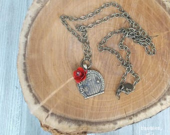 Vintage Red Rose Necklace | Locket Necklace | Antique Gold