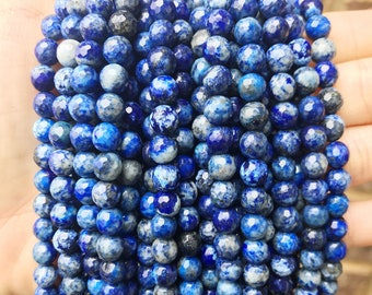Lapis Lazuli, 6mm Faceted, Blue Beads, Full Strand,