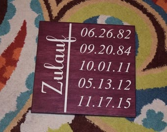 Personalized Custom Family Sign, Special Dates, Family Established, Birthdates. Hand Painted Wedding, Anniversary, Mother's Day Gift- CUSTOM