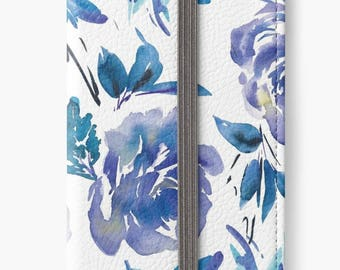 iPhone 6 Wallet, Blue Floral iPhone 6s Wallet, iPhone 6 Plus Wallet, iPhone 6s Plus Wallet, Roses iPhone Wallet Case, Girlfriend Gift