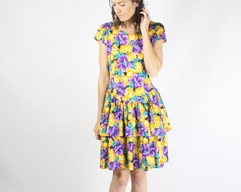 80s Ra-Ra Dress, Vintage Party dress, Floral Jersey Retro Eighties Mini dress Yellow Purple, Small 3655