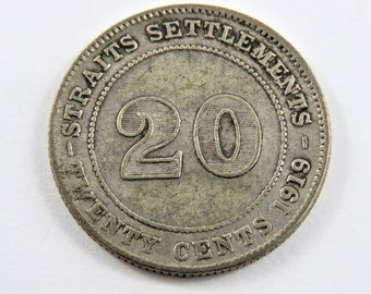 Straits Settlements 1919 B Silver 20 Cents Coin.