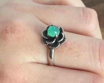 Flower Ring, Chrysoprase Ring, Vintage Rings, Chrysoprase, Solid Silver Ring, Green Stone Ring, Vintage Ring, Spring Ring, Matching Set