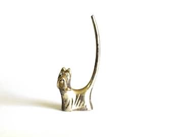 Scottie Dog Ring Holder - 70s Vintage Scottish Highland Terrier Silver Trinket - Silver Plated Figurine Ornament - Jewellery Holder