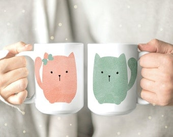 Couples Mug - Cute Cat Coffee Mugs - His and Hers Mugs - Funny Cat Coffee Cups - Cute Cat Mugs