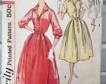Vintage Simplicity 2412 pattern, women's 1950s dress sewing pattern, size 14, bust 34, 1958, 50s dress
