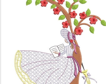 """Southern belle machine embroidery download 4 diff sizes (3.4 x3.4    5x5 6x6 7x7"""")"""