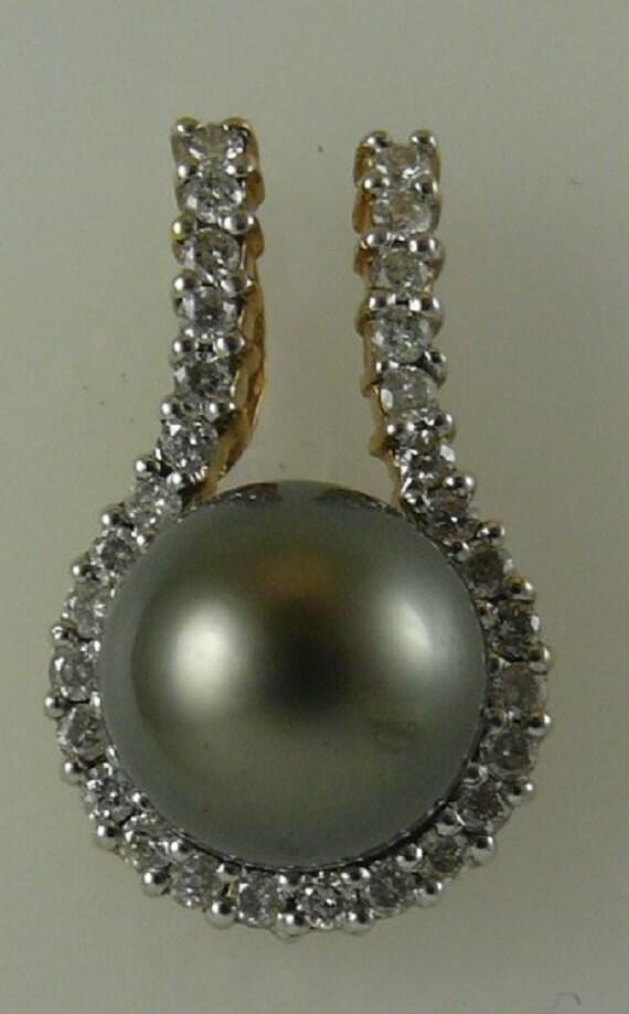 Tahitian Black Pearl 10.3mm Pendant 14k Yellow Gold and Diamonds 0.54ct