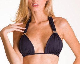 Black Brazilian Bikini Top Triangle String Bikini Swimwear Swimsuit