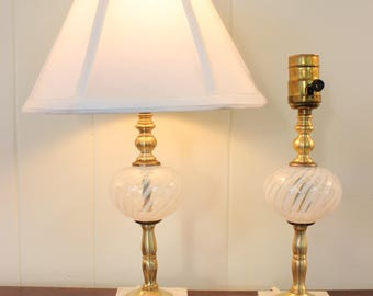 PAIR Vintage Fenton White Swirl Opalescent Glass on Brass Boudoir Mantel Lamps