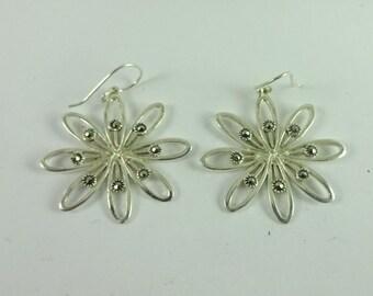 Vintage Sterling Silver Flower Floral Drop Dangle Marcasite Earrings