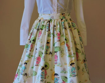 Lolita skirt, Midi skirt, Romantic Skirt, Cotton print, Tea length skirt, Pastel goth skirt, Party skirt, Knee length, Retro, Circle skirt