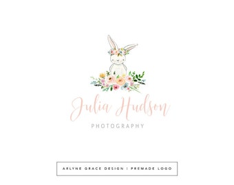 Premade Logo - Watercolor Logo - Logo Design - Bunny Logo - Rabbit Logo - Photography Logo - Floral Logo - Flower Logo - Boutique Logo