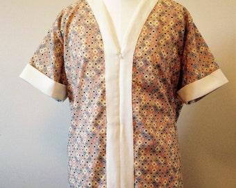 Men's short sleeve caftan shirt with zip up