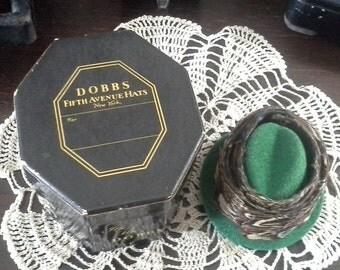 Salesman Sample Dobbs Hat Box, Mini Hat Box, Miniature Dobbs Hat, Rare Feather Hat Band, Vintage Advertising Box Collectible, Free Shipping
