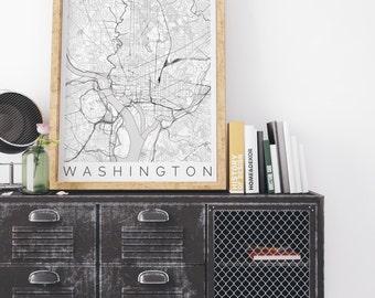Map of Washington, DC - Travel Decor - Map ART - Washington Map - Washington Print - Scandinavian Art - Black and White Washington Poster